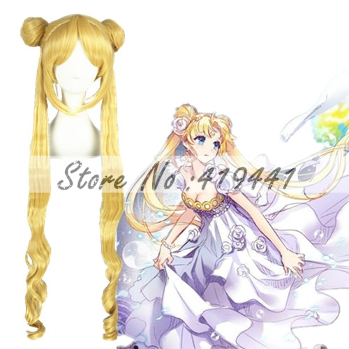 Гаджет  Free Shipping 100cm Long Curly Sailor Moon Blonde Party Hair Synthetic Anime cosplay Costume wig None Волосы и аксессуары