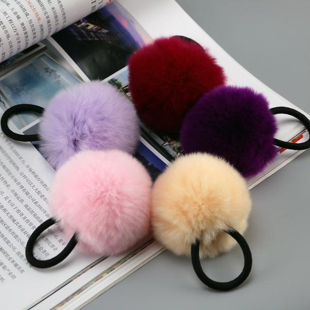 В розницу натурального меха кролика аксессуары волос кольца для девушки женщины волосы ...