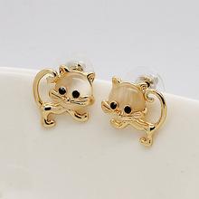 18K gold plated Cute cartoon animals Korean female cat clip earrings no pierced ear clip earrings wholesale(China (Mainland))