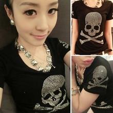 2015 Summer Plus Size Women T shirt Female Short Sleeve Cotton Diamond Skull print tops Women