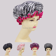 High quality beautiful printed satin fabric shower caps many designs all factory direct sales one size fit all(China (Mainland))