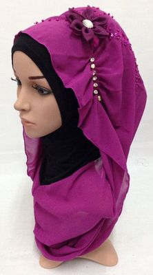 Hot-selling bandanas instant pull out HIJAB big flower one piece style(ninja sew with the outside part)(China (Mainland))