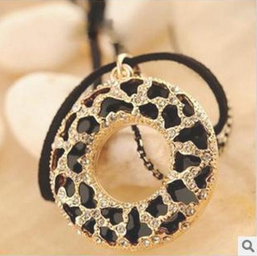 N172 Bohemian necklace long black hollow out zebra circle flowers double chain necklace sweater chain B3.9(China (Mainland))