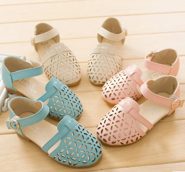 2015 New Hollow Out children sandals US Size 26-35 Zapatos para ninos Girl's Shoes Leather Shoes