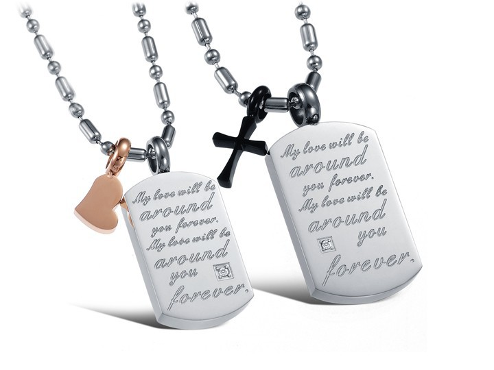 Fashion Stainless Steel Hers Heart & His Cross Matching Couple Pendant Necklace Set Lovers Gifts For Women Men(China (Mainland))