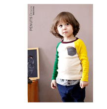 2-8 years children 2016 New Spring Autum boys t shirt long sleeve baby boy t-shirts Contrast color children clothing
