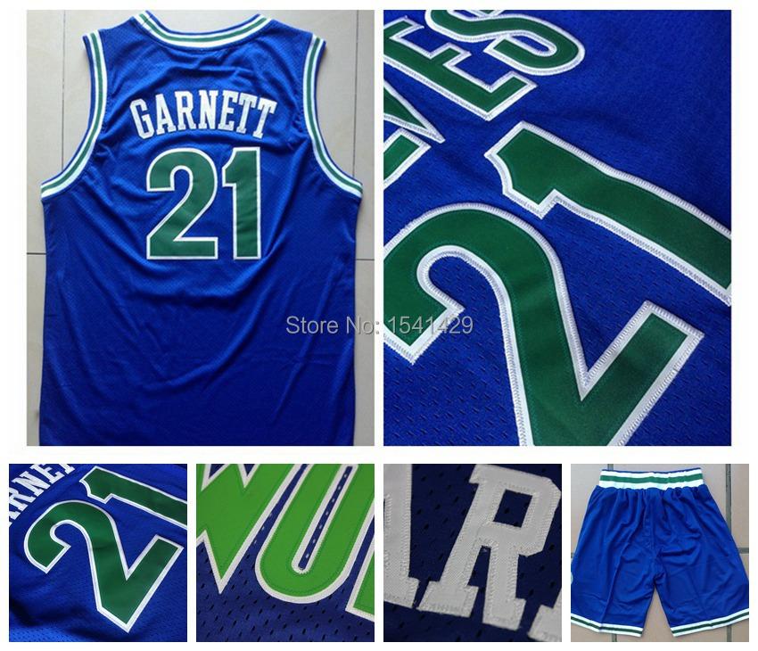 Гаджет  Cheap Minnesota #21 Kevin Garnett Blue Throwback Retro Basketball Jersey and Shorts Embroidery Logos 2013 Christmas Style None Спорт и развлечения
