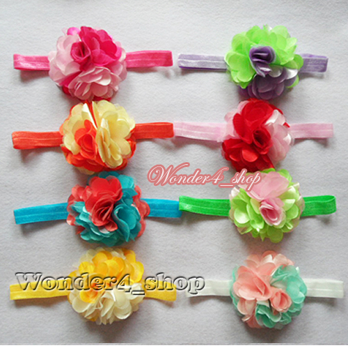 Free shipping Wholesale 20pcs/lot   shimmery elastic hair accessory headband with prismy rose flower 8design for choose<br><br>Aliexpress