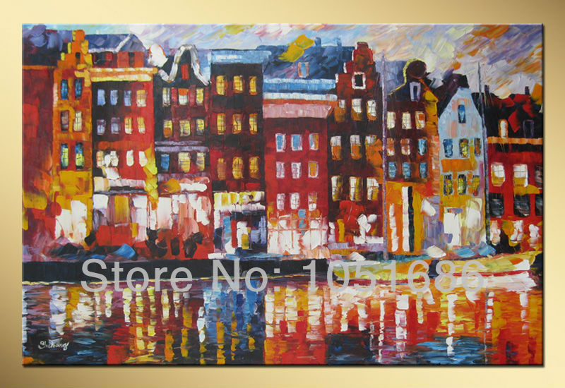 Hand Painted Italy Venice Cityscape Art Modern Abstract Canvas Picture Oil Painting Wall Decor With No Framed(China (Mainland))