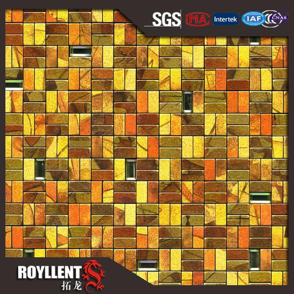 royllent acp mosaico parquet barato metal adhesivo decorativo backsplash de la cocina azulejos de la pared