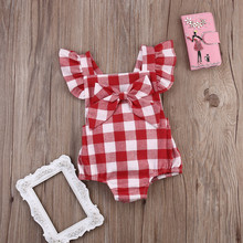 Baby Girls Bodysuits Princess Plaid 2016 Lace Bodysuit Casual Jumpsuit One-Pieces