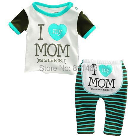 3M-24M new baby boys green striped letter I LOVE MOM clothing set cute kids sleepwear fashion boys pajamas(China (Mainland))