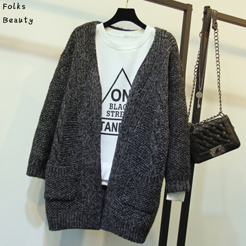 2015 New Women Korean Long Cardigan Crochet Casual Oversized Open Stitch Knitted Coat Thick Spring Autumn Cardigan Female(China (Mainland))