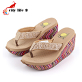 Summer Sandals Platform Wedges Waterproof High Heeled Cane Flip Flops Female Slippers Ayakkabi