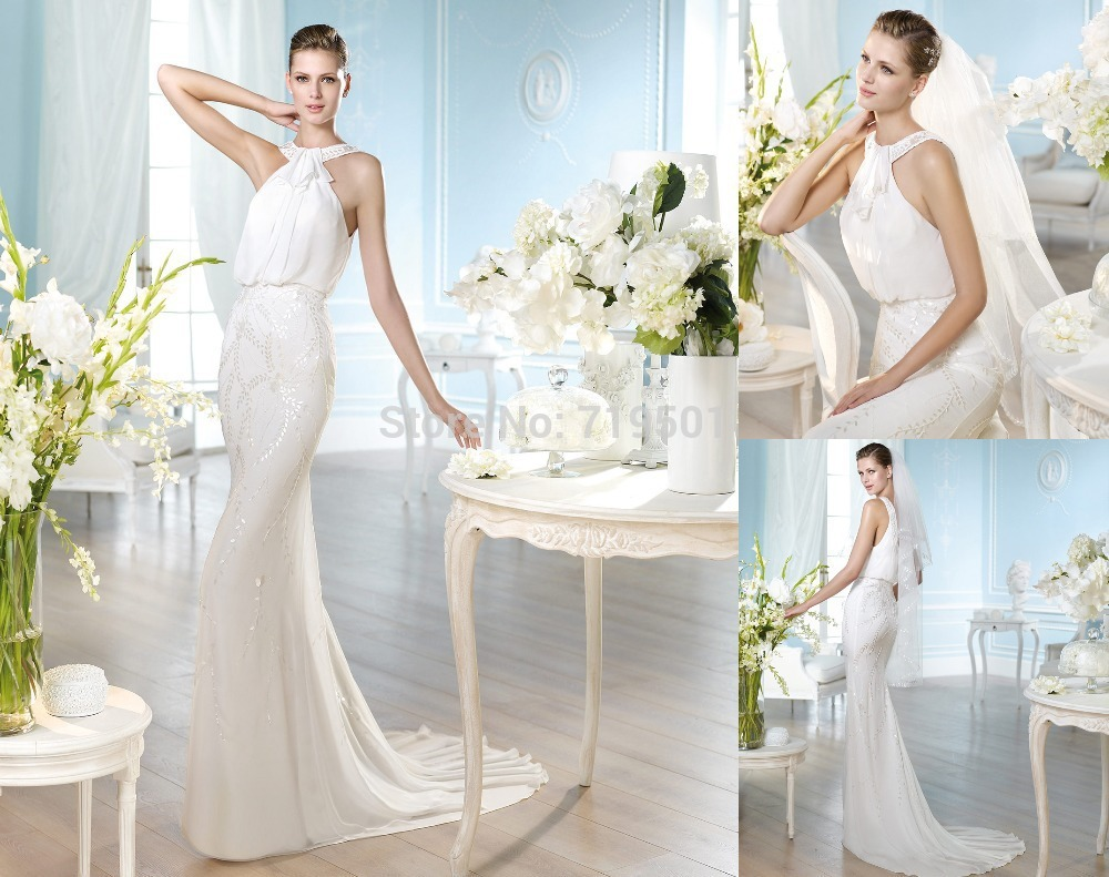 Latest design free shipping jeweled over long train casual for Ivory casual wedding dresses