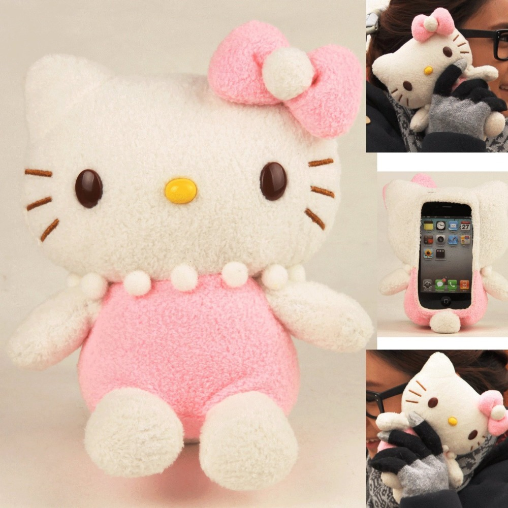 Fashion cartoon Plush Toy Case for iPhone 5 5 g ipod touch (Pink Hello Kitty) + screen protector and cloth free shopping(China (Mainland))