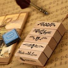 Romantic Long Stamp Diy Wooden Rubber Stamps For Scrapbooking Vintage Stationery Stamps Set
