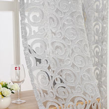 Grey Luxury European tulle bedroom curtains Window Pink sheer Curtains For Living Room Pteris Tulle window Balcony decor WP051&2(China)