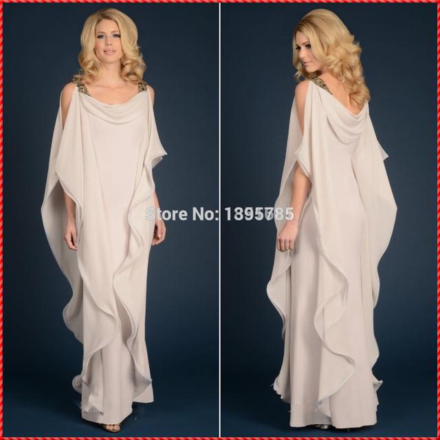 Сексуальная оболочка шифон спинки мать невесты платья с плеча дешево-рукавов очаровательная ...