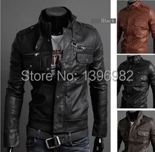 2014 The New Spring Multi zipper Buckle collar Coat Men's Leather Jacket Men Slim Handsome