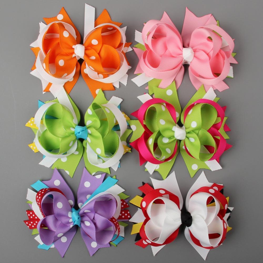 "12Pcs/Lot 4"" Polka Dots Boutique Cute Spike Hair bows Hairbows WITH Clips Grosgrain Hair Ribbon Girls Hair Accessories(China (Mainland))"