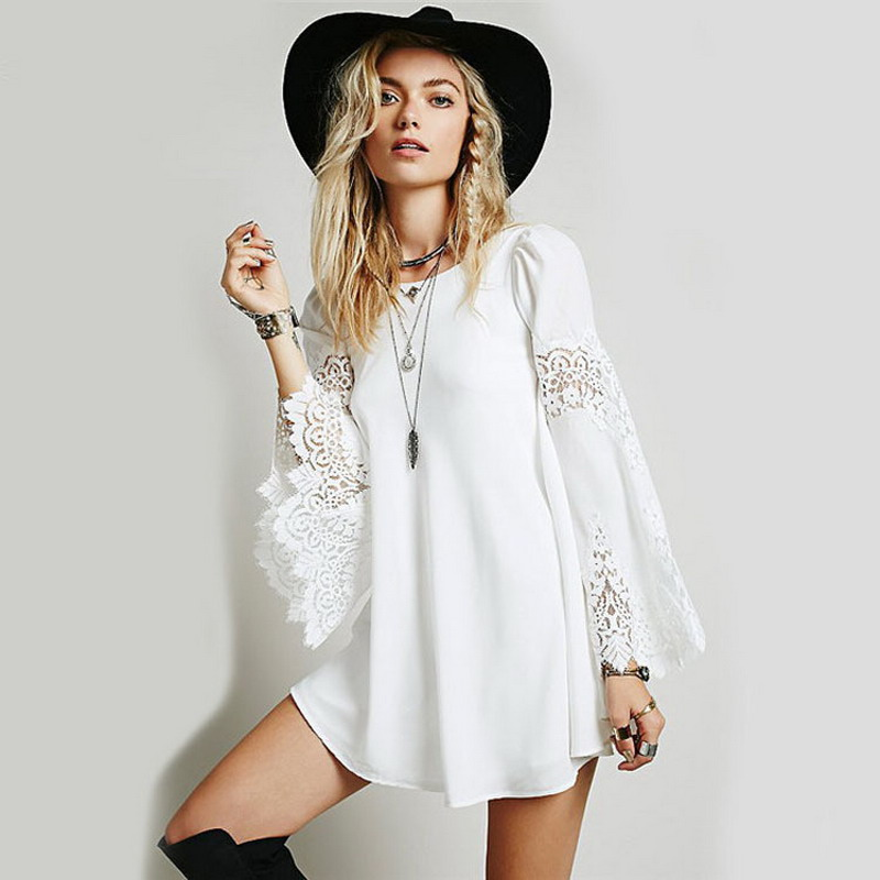 2015 New Fashion Summer Style Women Dress Sexy O Neck Lace Crochet Hollow Out Beach Dresses Elegant Chiffon Patchwork Clothing(China (Mainland))