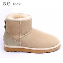 INOE Clásico de piel de oveja de cuero real de piel de oveja forrado invierno corto botines de gamuza botas de nieve para las mujeres zapatos de invierno pisos negro marrón(China (Mainland))