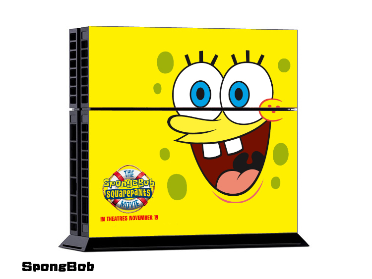 For Sponge Bob PS4 Sticker For Sony Console+2 controller Sticker PS4 Skin No:0101 Free Shopping(China (Mainland))