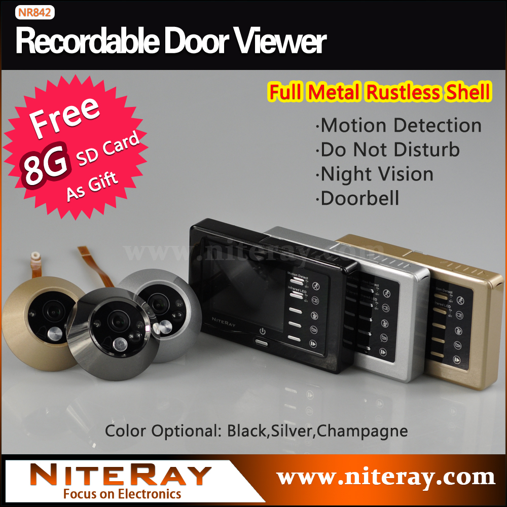 Digital door peephole viewer camera with motion sensor support photo taking video recording door bell strong