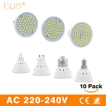 Buy 10pcs LED Spotlight GU10 E14 E27 MR16 Led Lamp AC 220V 3528SMD 48Leds 60Leds 80Leds Cold White Warm White LED Lighting bulb for $9.99 in AliExpress store