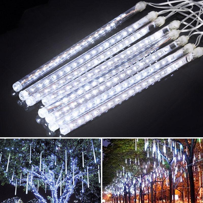 30CM Meteor Shower Rain 8 Tube LED Solar String Lights Christmas Wedding Garden(China (Mainland))