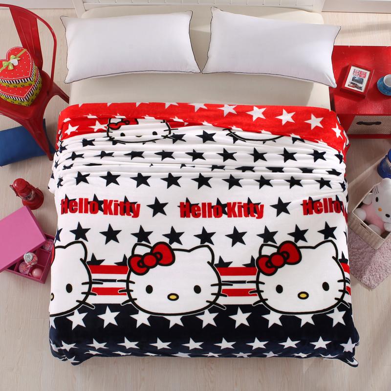 Pink Cat Cartoon Flannel Fleece Fabric Blankets Deer Rabbit Tree Bedding Article Single Bed Blanket Home Aircraft Nap Blanket(China (Mainland))