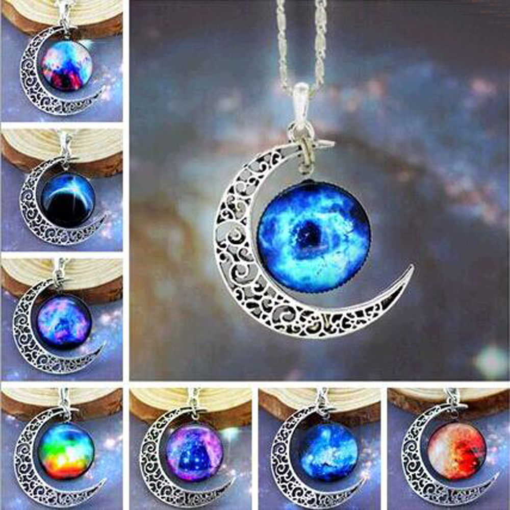 0 41 1pcs Brand Fashion Jewelry Choker Necklace Glass Galaxy Lovely Pendant Silver Chain Moon