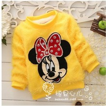 2015 New Best selling baby girl Minnie Mouse thick sweater kids warm sweater baby clothing girls clothes Free shipping(China (Mainland))