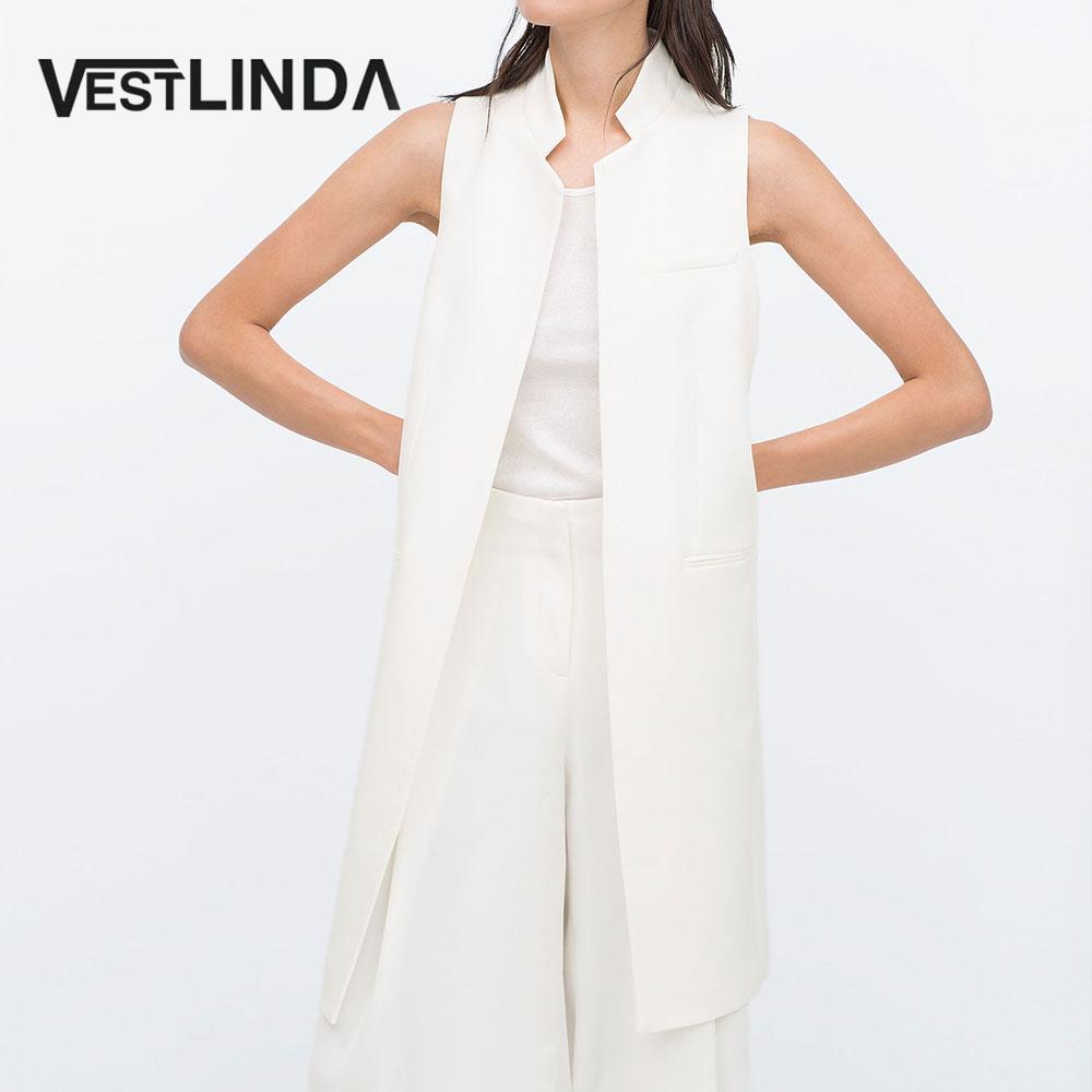 VESTLINDA Long Vest Back Split Outwear Waistcoats Women White Black Jacket Coat Sleeveless Cardigan Pocket Blazer Vest Femme Top 1