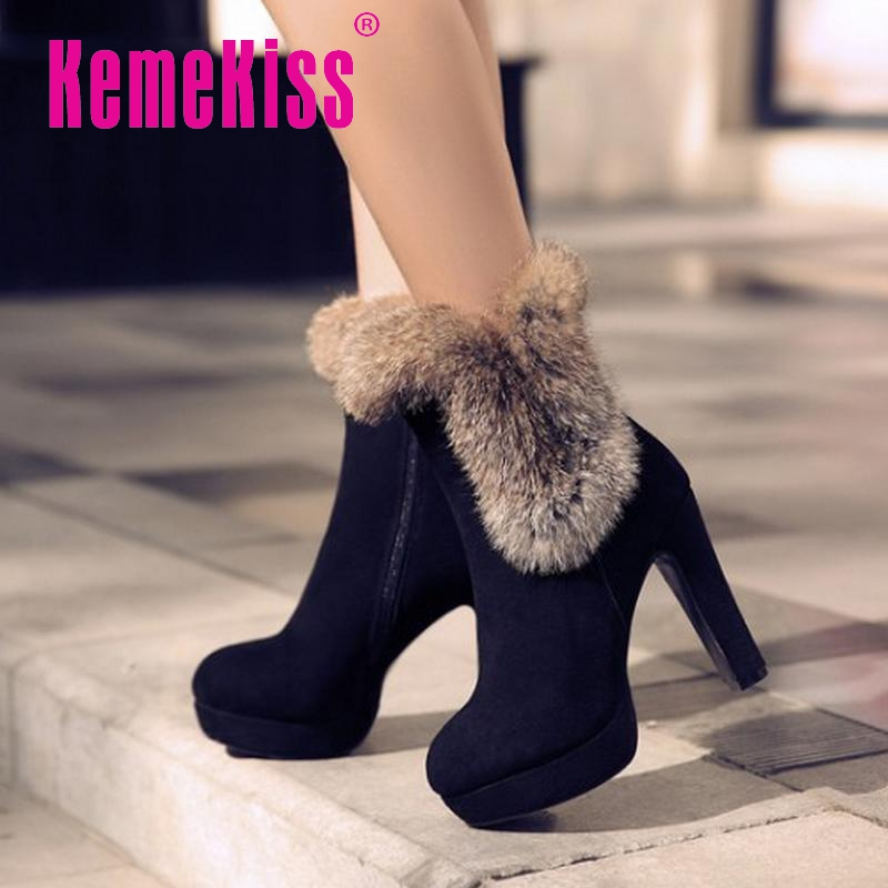 women real genuine leather high heel mid calf boots half short boot warm platform botas heels footwear shoes R8065 size 34-39<br><br>Aliexpress