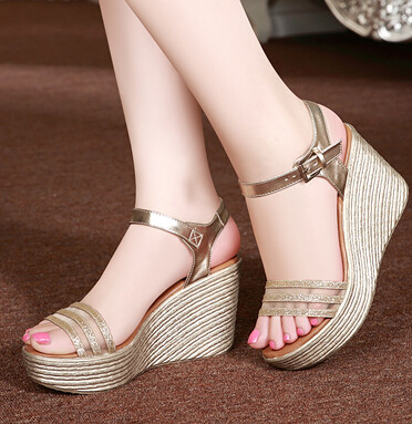 2015 Summer Style New Wedge Fish Mouth Peep-Toe Sandals Leather Shoes High Heels Sponge Thick Bottom Cool Women's Fashion Shoes(China (Mainland))