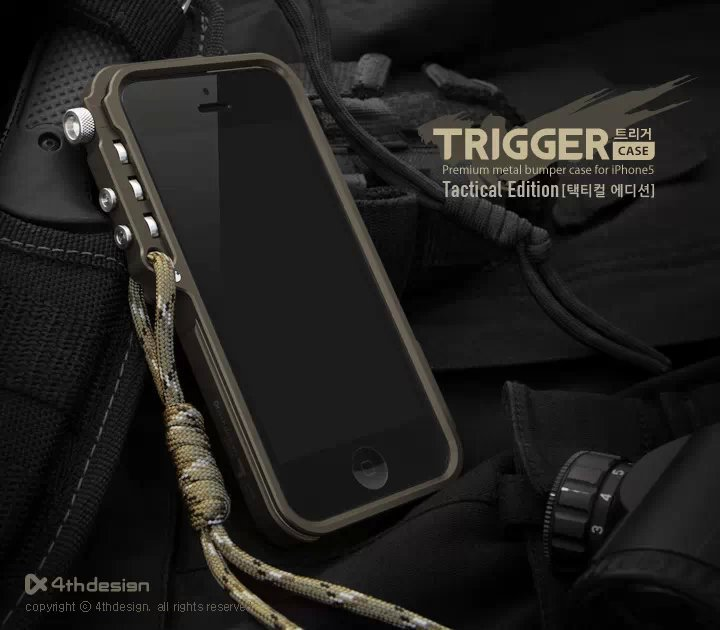 Trigger metal bumper for iphone 5 5S SE 4 4S 6 6S Plus M2 4th design premium Aviation aluminu bumper phone case tactical edition(China (Mainland))