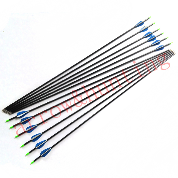 24pcs archery carbon recurve bow arrow with 4 2mm ID carbon shaft and fixed aluminum arrow