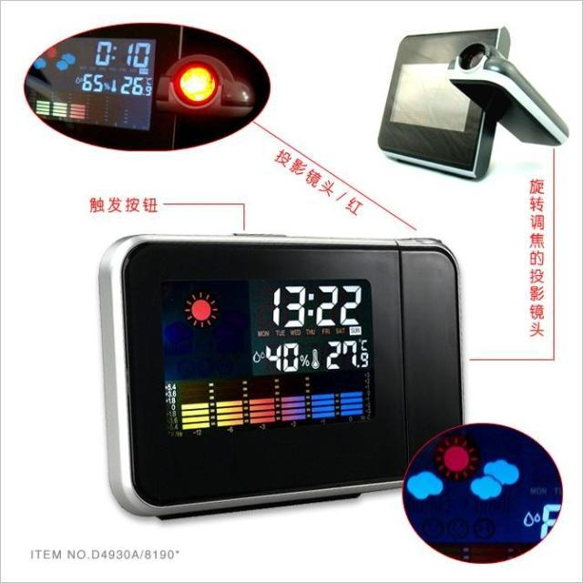 Fashion Hot Attention Projection Digital Weather LCD Snooze Alarm Clock Projector Color Display LED Backlight(China (Mainland))