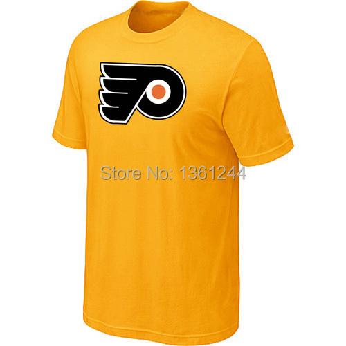 Hot sell Hockey T-Shirt Philadelphia Flyers Big &amp;amp; Tall Logo Men T-Shirt  mix order ,embroidered logos<br><br>Aliexpress