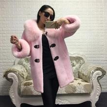OFTBUY 2016 new autumn winter jacket women fashion 100% real fox fur loose oversize pink black overcoat long woolen ladies coats(China (Mainland))