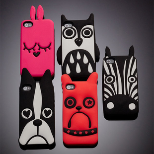Marc Creatures Fashion 3D Cartoon Cute Cat Dog Owl Zebra Silicone Case iPhone 4 4G 4S 5 5S 5G 6 6plus 4.7 inch 5.5 - SZ store