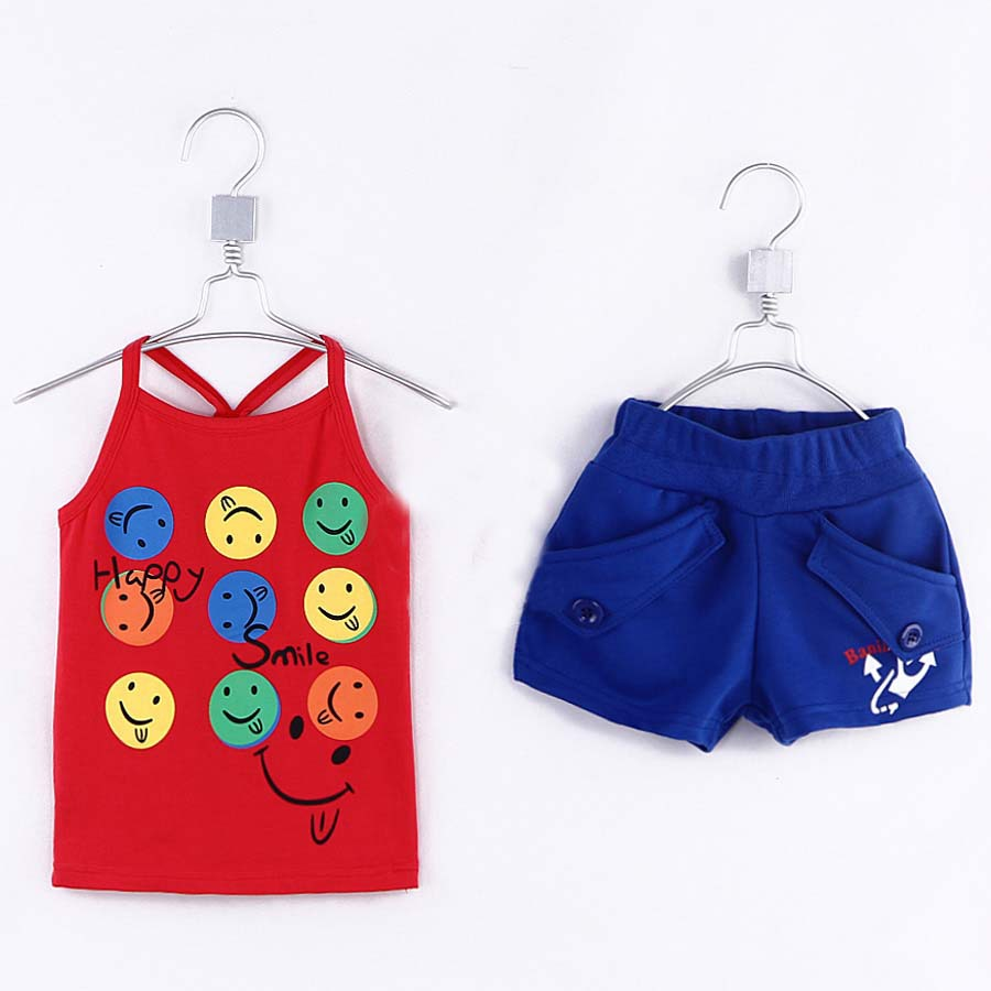 Summer Little Boys Pullover Vest And Shorts Two-piece Suit Children's Printed Clothing Sets Baby Boys Dress 6229(China (Mainland))