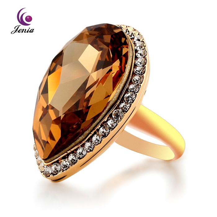 2013 Hot Selling Fashion 18K Gold Plated Rhinestone Jewelry Topaz Ring (XR028)