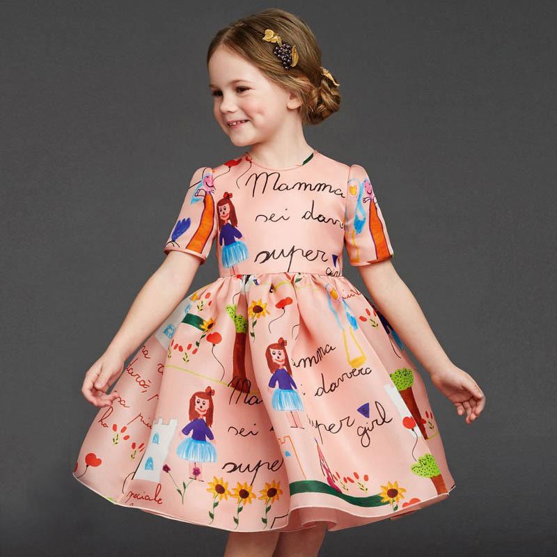 Retail 2015 girl dress High-quality goods clothing Cartoon short-sleeved summer autumn princess dresses christmas dress(China (Mainland))