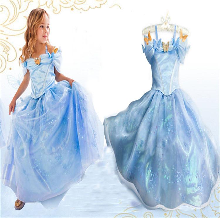 new cinderella girl dress princess party dresses baby kids cosplay costumes summer girl dress Vestidos(China (Mainland))