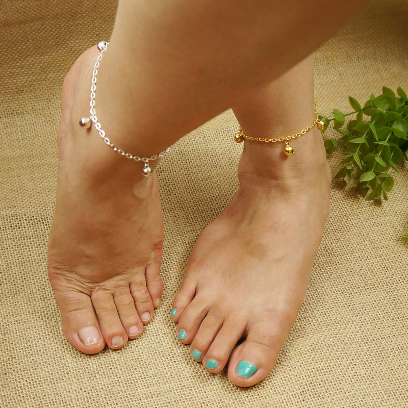 Women Anklets Bracelet Summer Beach 8mm Jingle Bell Pendant Gold/Silver Plated Charm Barefoot Sndals Foot Chain Jewelry A00229(China (Mainland))