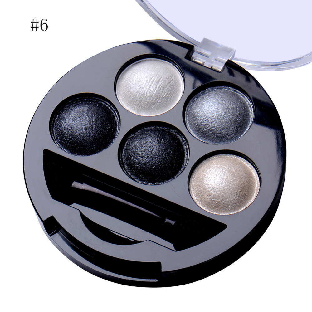 1Pcs 5 Colors Baked Eyeshadow Cosmetics 6 Style Metallic Shimmer Warm Color Eye Shadow Powder Palette With Brush and Mirror(China (Mainland))