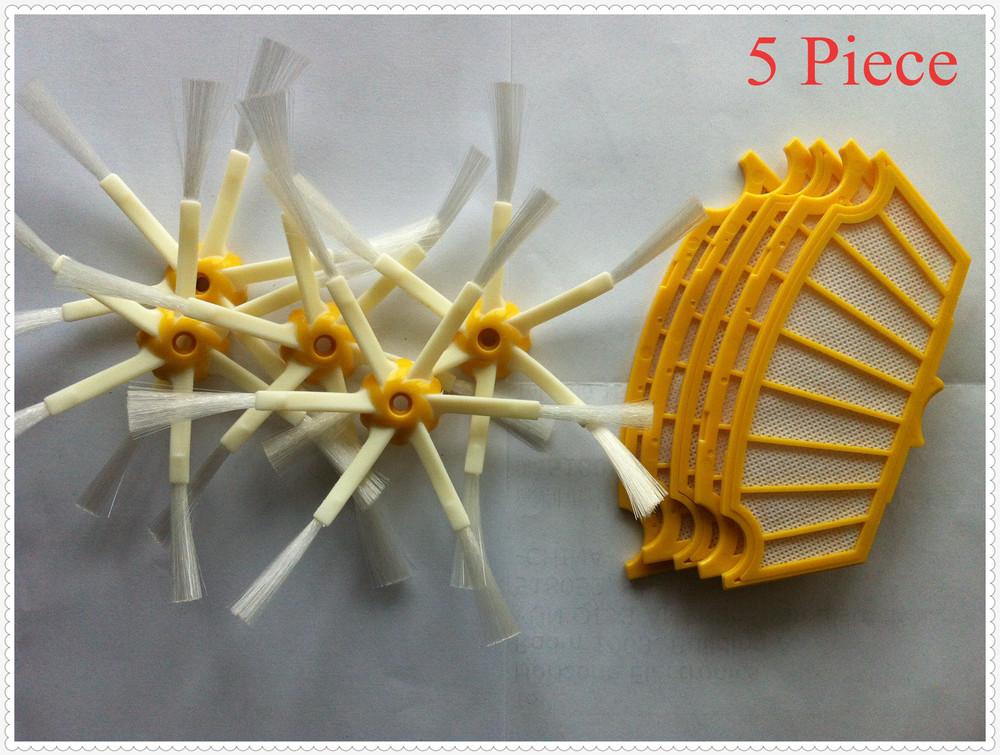 5 piece Replacement Filter for iRobot Roomba 500 560 570 580 Cleaner Filter and 5 piece iRobot Roomba 6 Arms Side Brush(China (Mainland))
